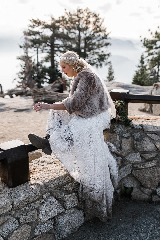 adventure bride in Yosemite national park | destination adventure wedding photographers | the hearnes adventure photography | www.thehearnes.com
