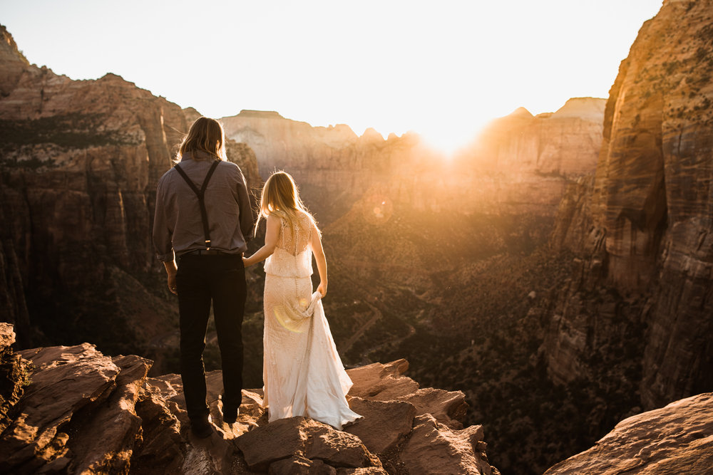 Zion national park elopement | destination adventure wedding photographers | the hearnes adventure photography | www.thehearnes.com