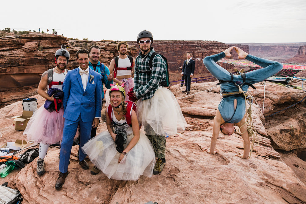 base jumper flower girls  on a moab spacenet wedding | destination adventure wedding photographers | the hearnes adventure photography | www.thehearnes.com