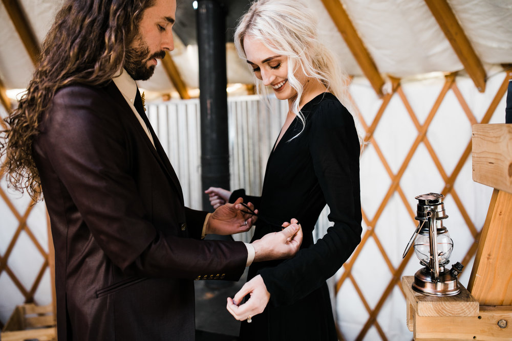 elopement in moab, utah + getting ready together in a yurt | destination adventure wedding photographers | the hearnes adventure photography | www.thehearnes.com