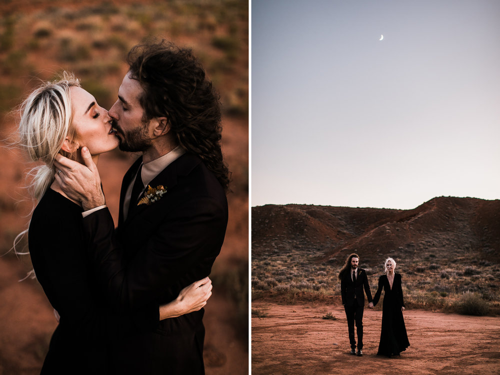 adventurous elopement in moab, utah + black wedding dress | destination adventure wedding photographers | the hearnes adventure photography | www.thehearnes.com