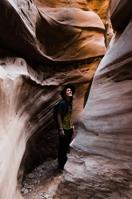 exploring slot canyons in utah | utah and california adventure elopement photographers | the hearnes adventure photography | www.thehearnes.com