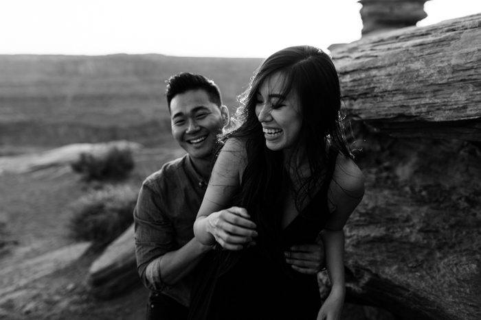 engagement photos in the moab desert  | moab utah elopement photographers | the hearnes adventure photography | www.thehearnes.com