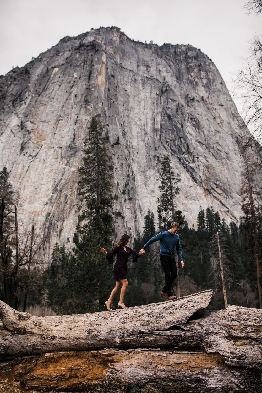 mountain top engagement session in yosemite national park | adventurous destination wedding photographer | the hearnes adventure photography | www.thehearnes.com