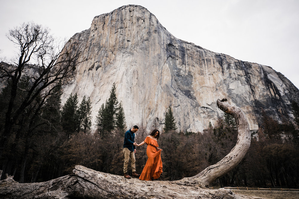 adventurous engagement session in el cap meadow yosemite national park