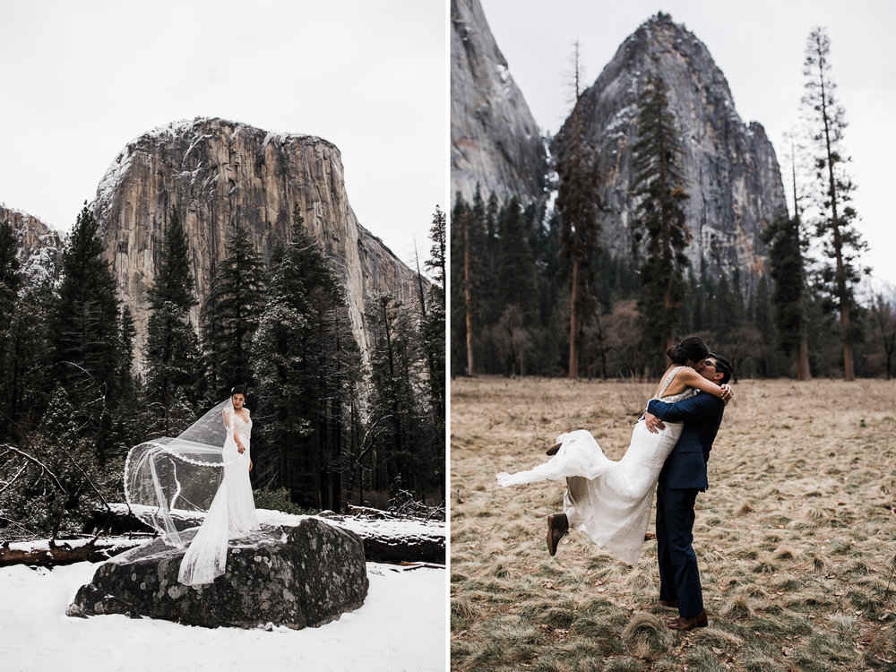 snowy wedding in yosemite national park