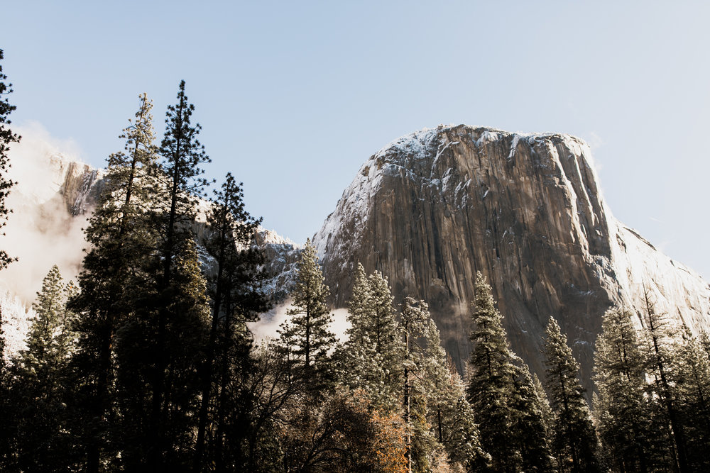 snowy el cap in yosemite on lorilee and ivan's wedding day