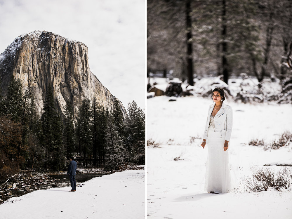 wintery first look on lorilee and ivan's elopement day