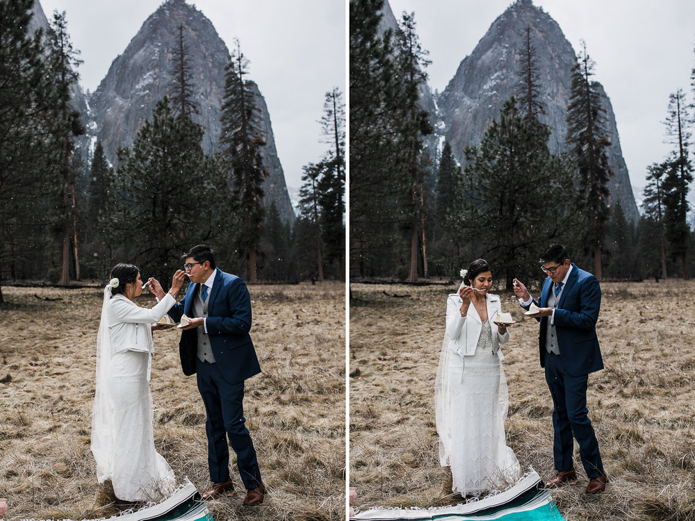 mini wedding cake for an elopement in yosemite