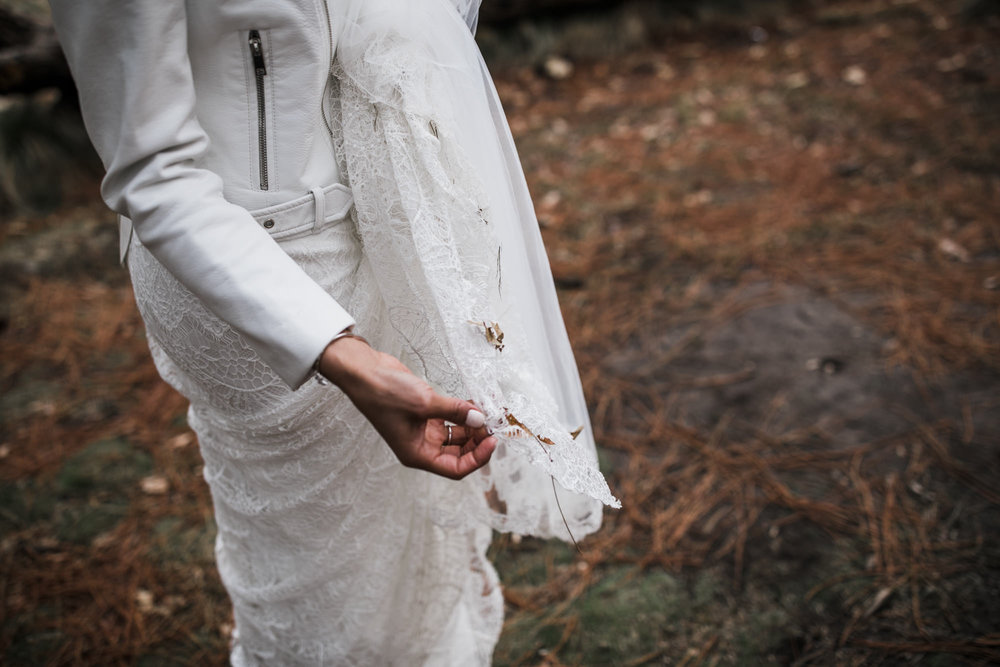 dirty wedding dress inspiration in yosemite