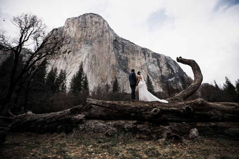 bride and groom in yosemite underneath el capitan on their wedding day