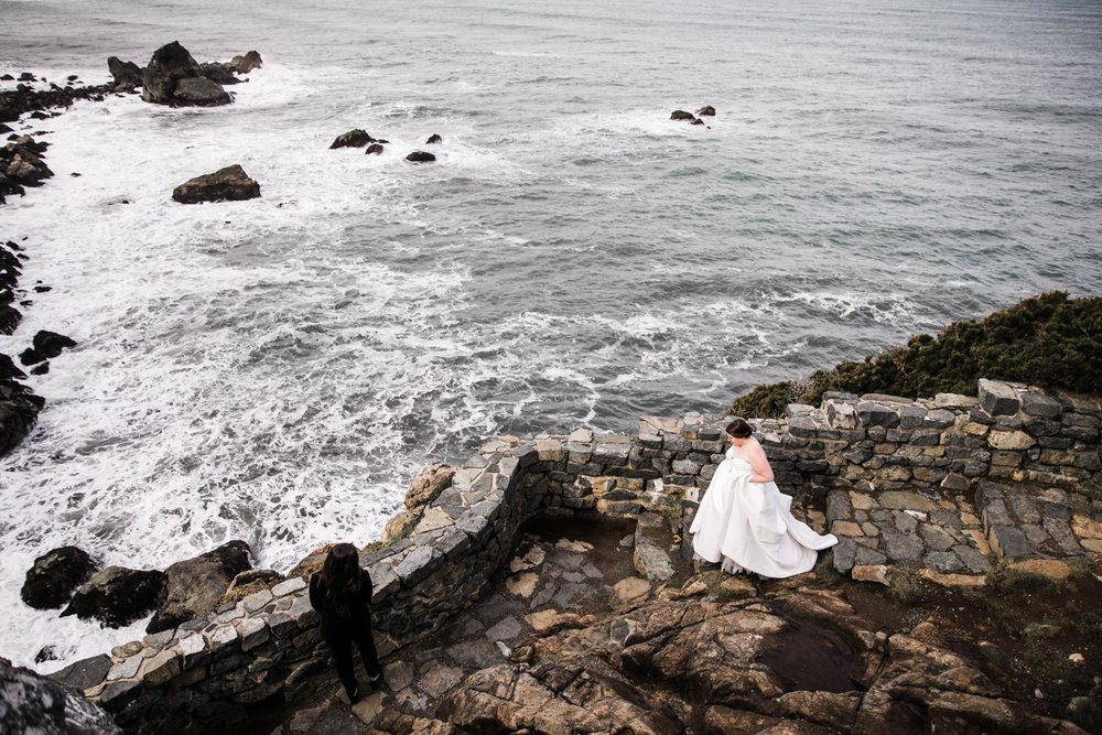 bride and bride first look on the coast of california