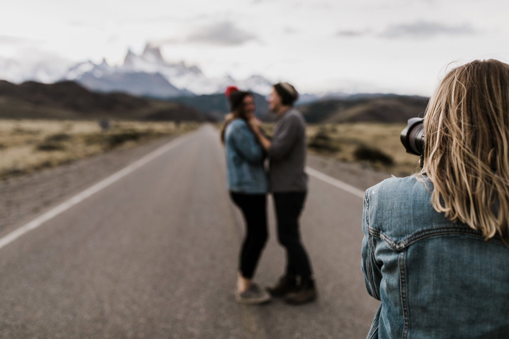 adventure wedding photographers behind the scenes in patagonia