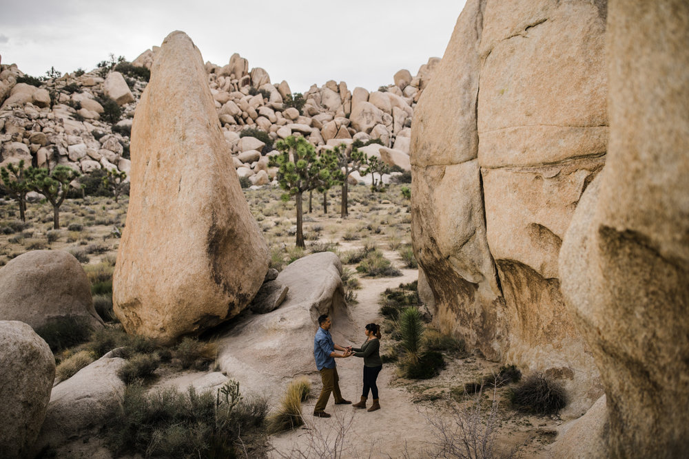 tamara + jerry's joshua tree national park engagement session | desert elopement inspiration | the hearnes adventure wedding photography | www.thehearnes.com