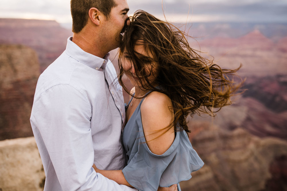 alex + stephen's grand canyon national park engagement session | desert elopement inspiration | weddings in national parks | the hearnes adventure photography | www.thehearnes.com