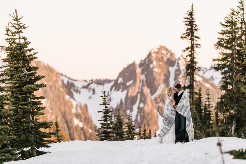 pendleton silver bark blanket | wedding portraits in the snow in mount rainier national park | first dance in the mountains | national park elopement photographer