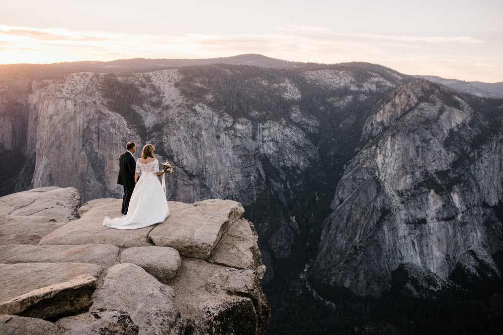 kit + brad's elopement in yosemite | adventure wedding at taft point | national park elopement photographer | the hearnes adventure photography | elopement photographers