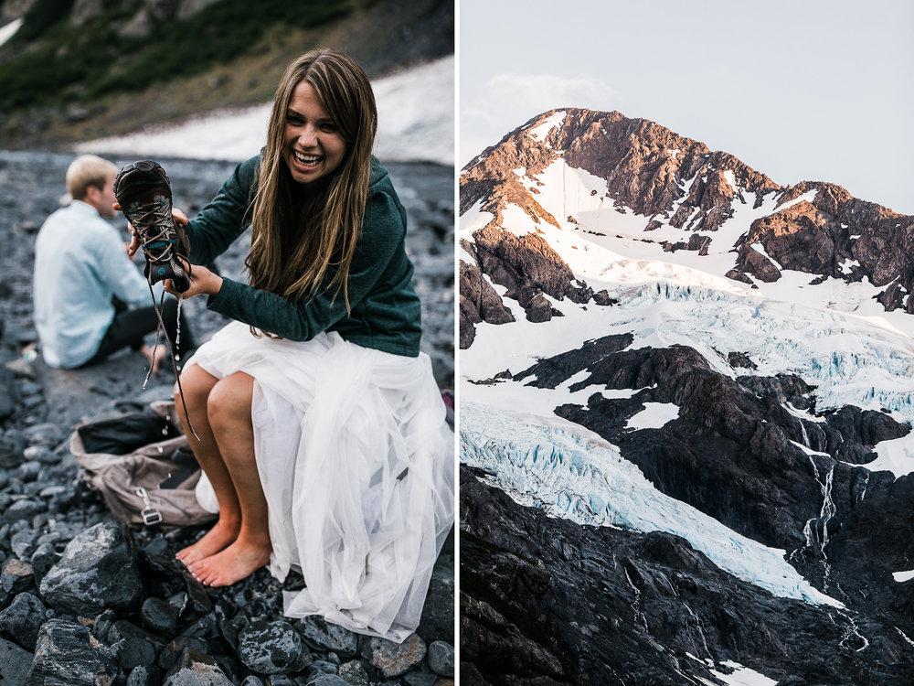 adventurous glacier engagement session near girdwood | alaska elopement photographer | glacier wedding inspiration | the hearnes adventure photography | www.thehearnes.com
