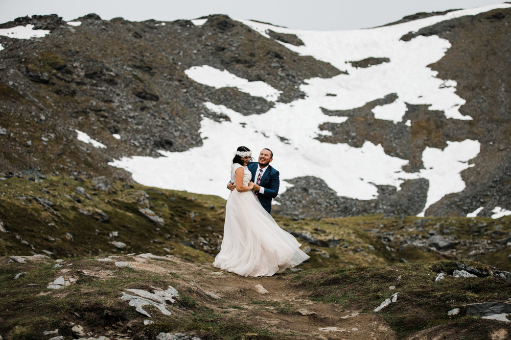 adventurous wedding portrait session at hatcher pass near anchorage | alaska elopement photographer | the hearnes adventure photography | www.thehearnes.com
