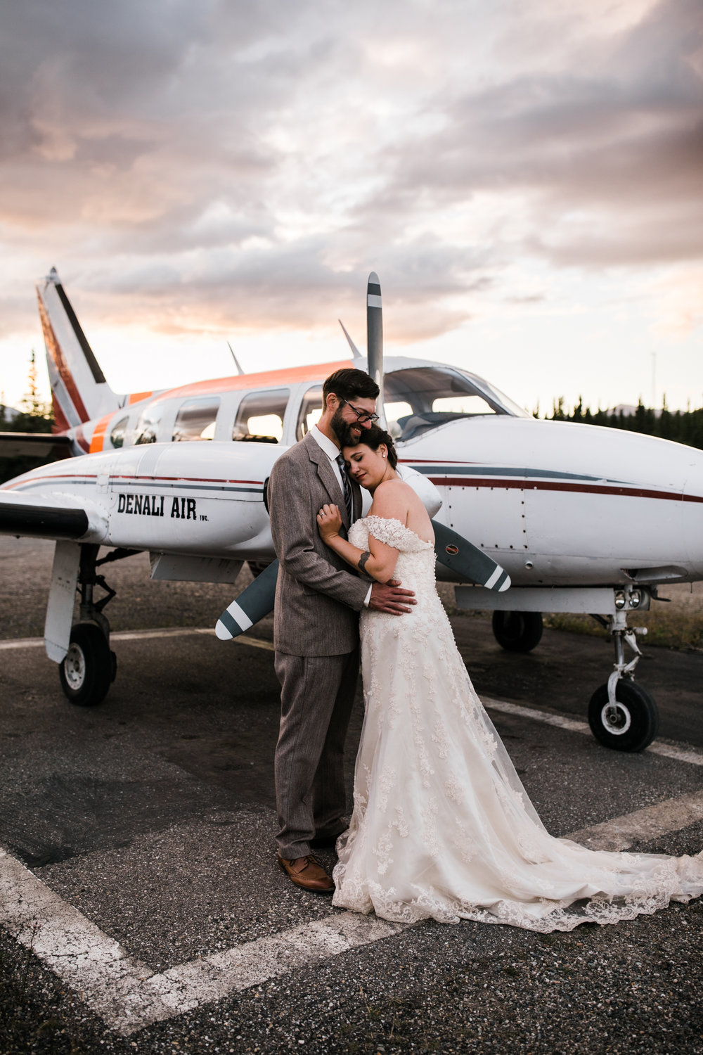 morgan + evan's intimate wedding on the denali airstrip | alaska destination wedding near Denali National Park and Preserve | the hearnes adventure photography