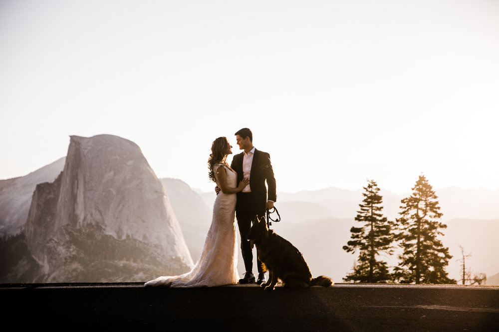 first look and wedding portraits at glacier point | bride and groom with a dog | yosemite national park elopement photographer | the hearnes adventure photography