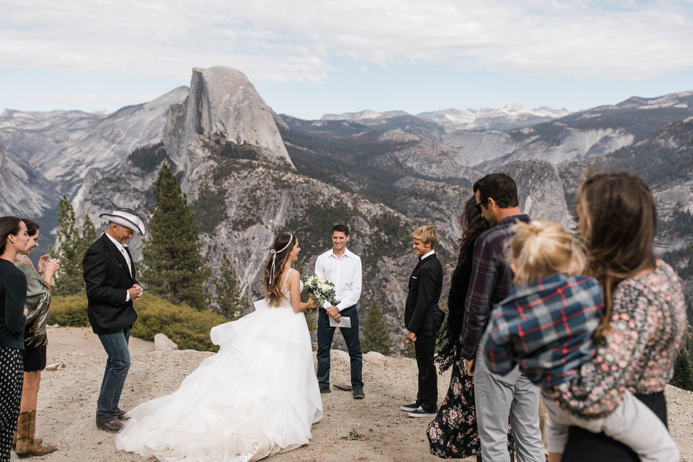 intimate wedding in yosemite national park | glacier point wedding ceremony | wedding portraits at taft point | hiking wedding inspiration | adventure elopement photographer | the hearnes