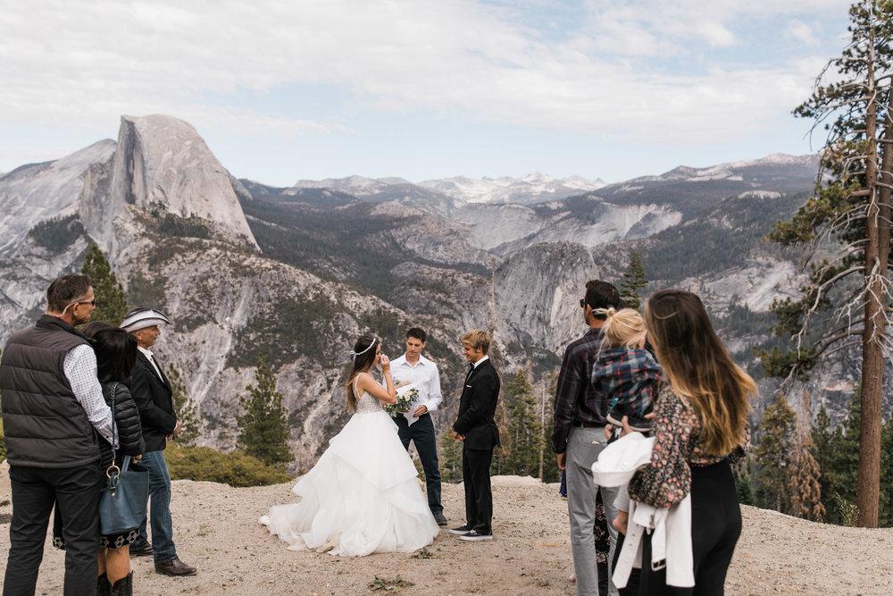 intimate wedding in yosemite national park   glacier point wedding ceremony   wedding portraits at taft point   hiking wedding inspiration   adventure elopement photographer   the hearnes