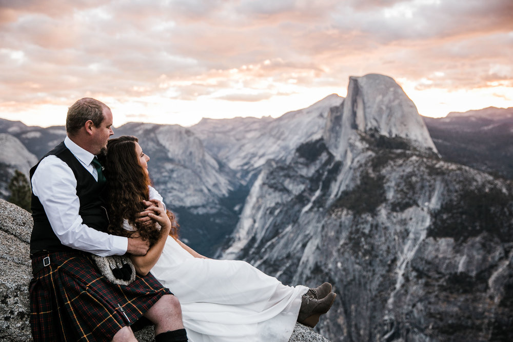 morgan + trevor's intimate wedding in yosemite national park | private vows at sunrise + wedding ceremony at Glacier Point | groom wearing a kilt | adventure elopement photographer