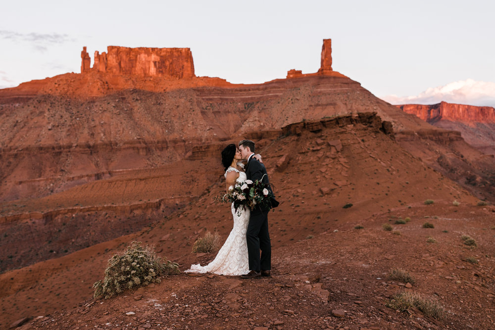 moab, utah wedding first look session | galia lahav bride | bridals in the desert | the hearnes adventure photography