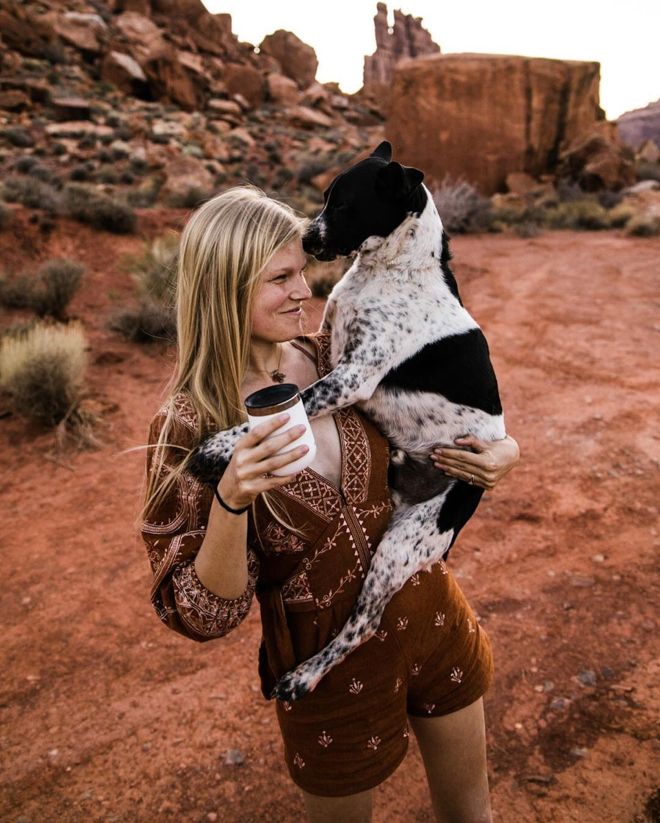 van life with a dog in moab utah