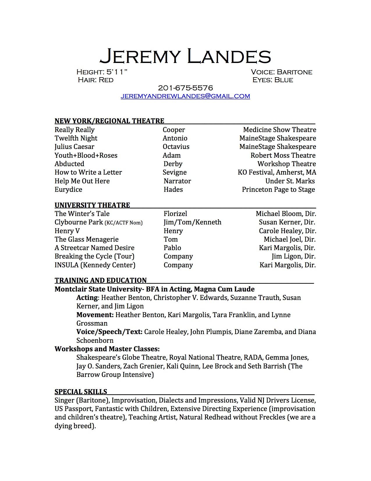 Performance Resume — Jeremy Landes