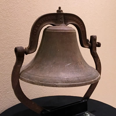 OLD CHURCH BELL. ON DISPLAY IN SANCTUARY