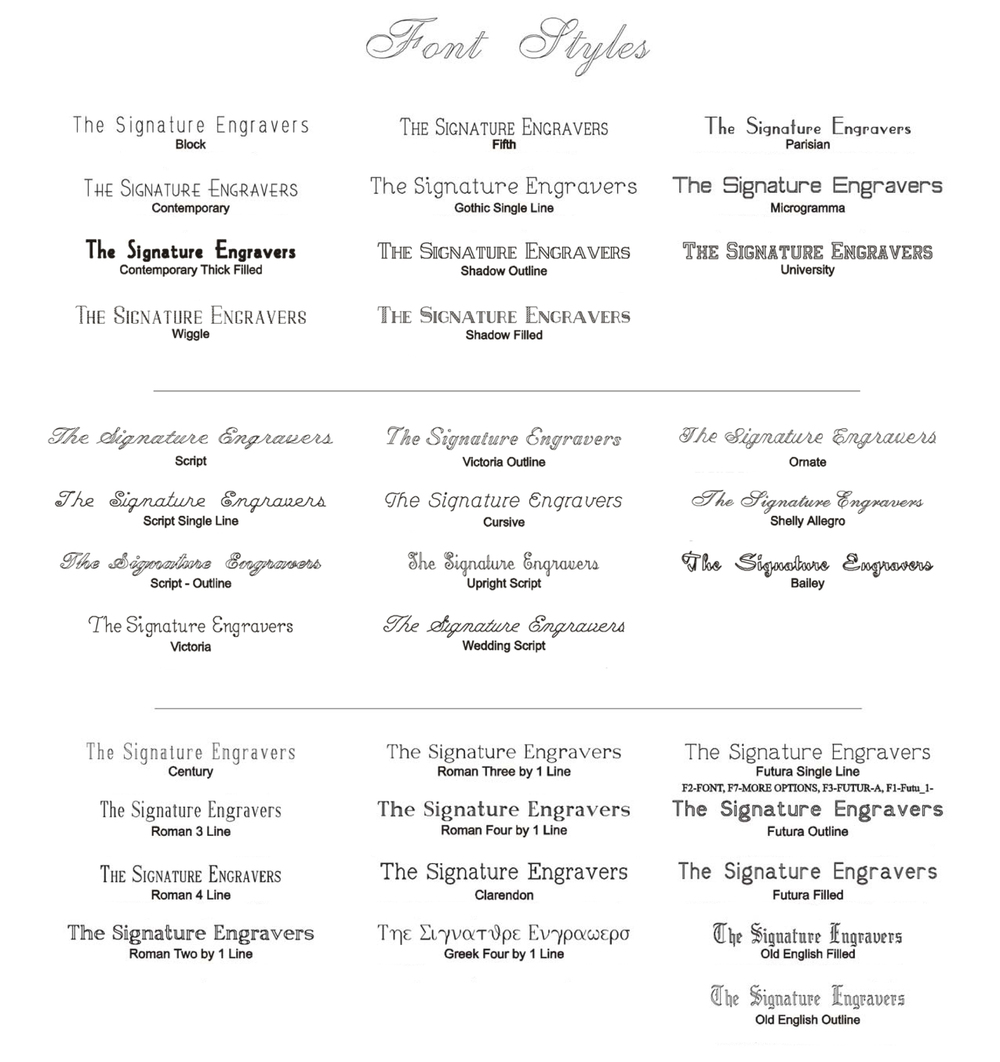 ENGRAVING FONT STYLES PAGE 1