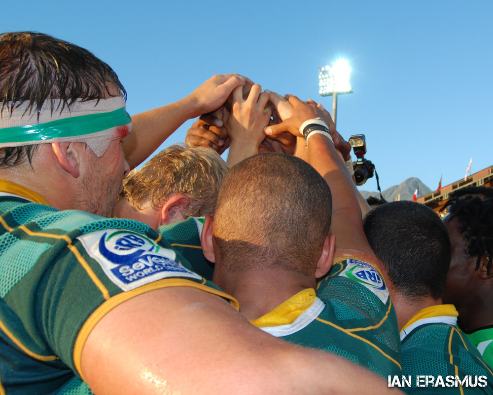 South Africa celebrate winning the IRB Sevens South Africa tournament on home ground