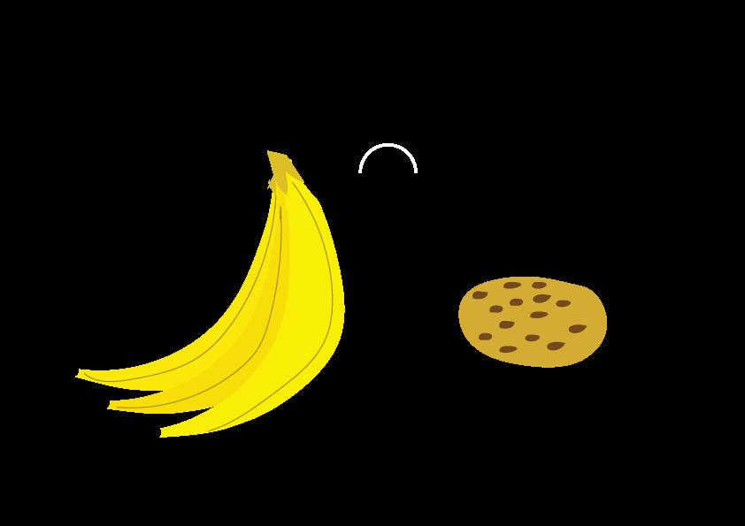 Ik zie bananen en ik zie een koekje. (I see bananas and I see a cookie.)