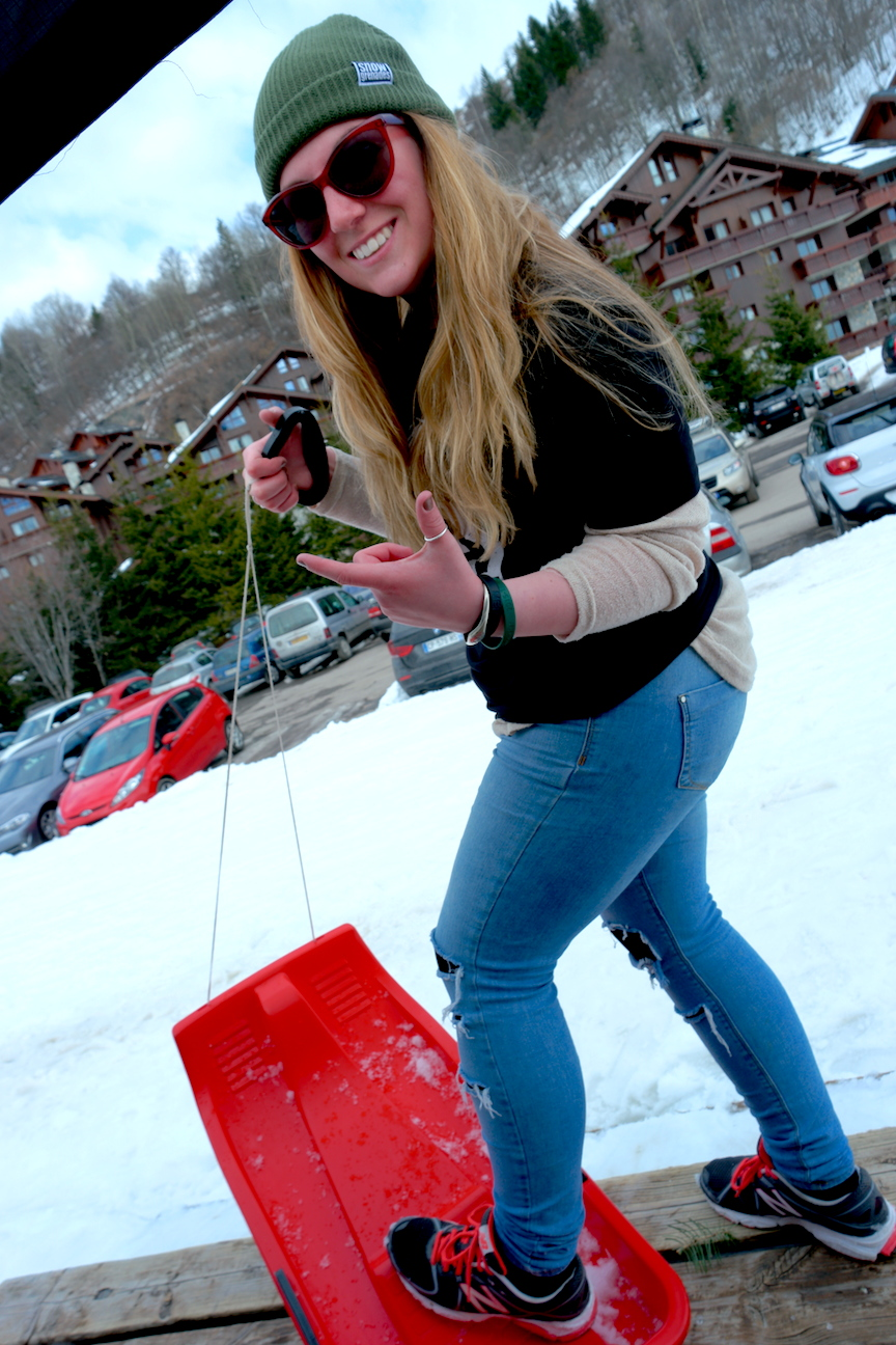 Meribel Village; LDV sledging comp! Cheers Charlotte!