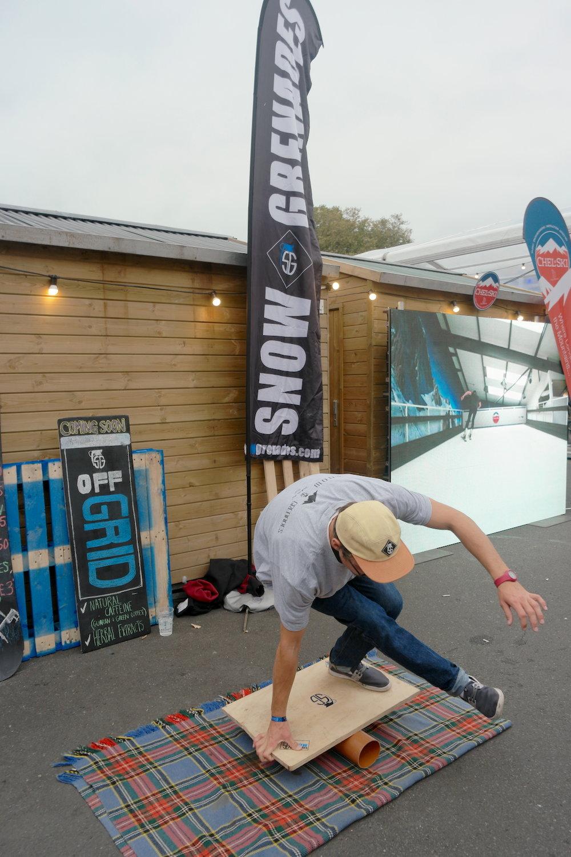 London; Telegraph Ski & Snowboard Show @ Battersea Park! SG Brand Ambassador; Ben, ripping on the home made vewdo board!
