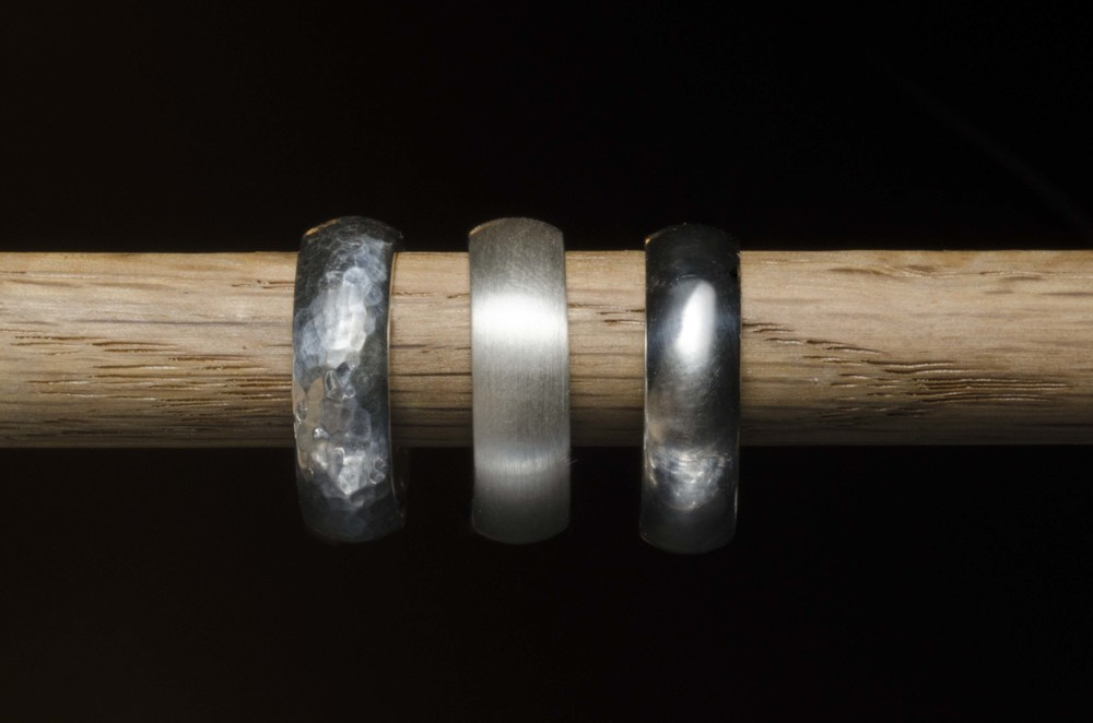 Your rings can have a hammer texture, satin, or polished finish.