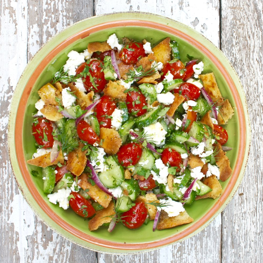 Mediterranean Salad with Fresh Herbs and toasted Pita.jpg