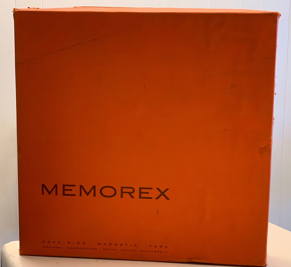 "2"" Orange Memorex cardboard shipper"