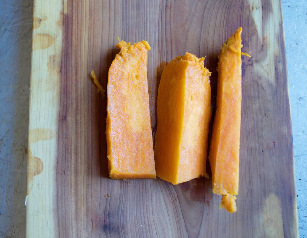 Soft roasted sweet potato.