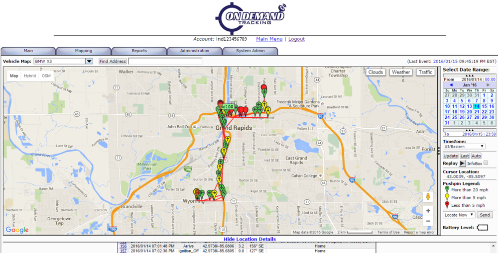 Our GPS tracking software is extremely user friendly and allows anyone to navigate all options with ease. Whether you want to see where a vehicle is currently, or would like to see exactly where a vehicle has been for the last 6 months, our software can handle it. We serve many sectors and are able to create customized tracking solutions for just about anyone. We have multiple server locations for ultra-low-latency tracking, with multiple redundancies in place to ensure you can always track what you want, when you want. And all of this while keeping your personal data completely secure. With our advanced hardware and easy-to-use software, On Demand Tracking is the right choice when it comes to tracking what you value most.