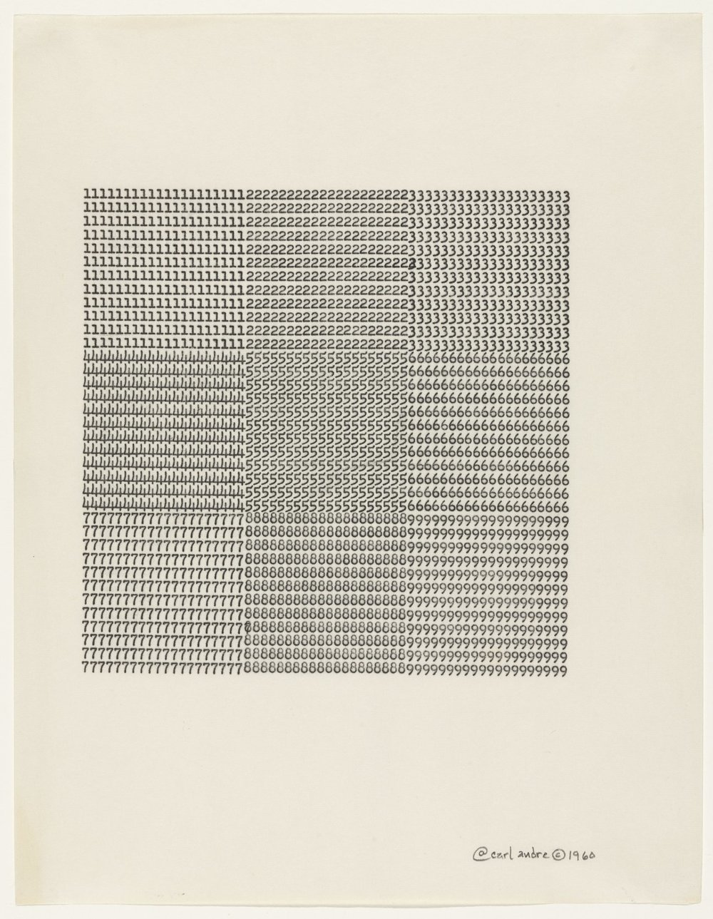 Carl Andre, Untitled, 1960, typewriting on paper, 11 x 8 ½ inches