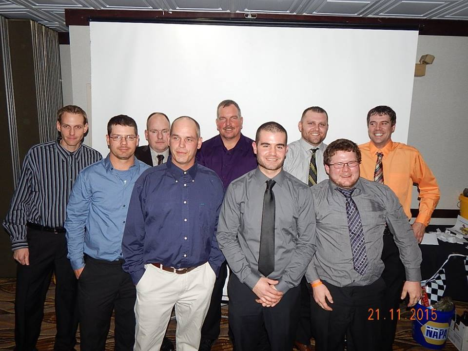top ten in points (back row L-R: Brandon Mowat, Lee Gill, Greg Belyea, Dale Caswell, Charlie Sandercock; front row L-R: Adam Turner, Sean Beardsley, Chris Fleming, Kyle Sopaz; ,missing: Dustin Waters