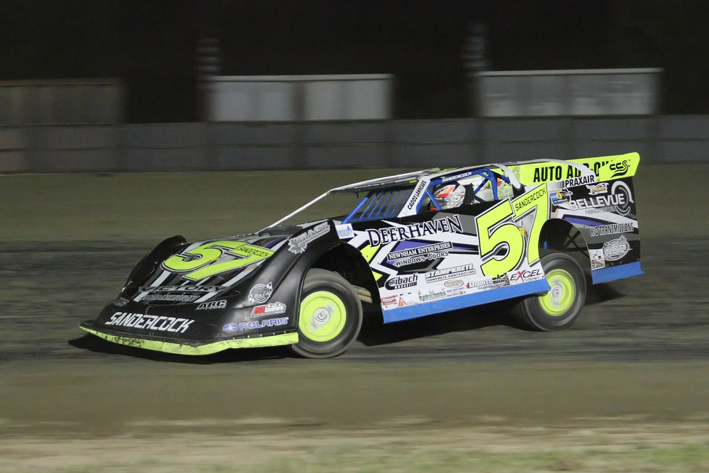 Charlie Sandercock drove his No.57 Bellevue Fabricating car to Victory Lane for the first time this season with the Go Nuclear Late Model Series. (Rod Henderson photo).