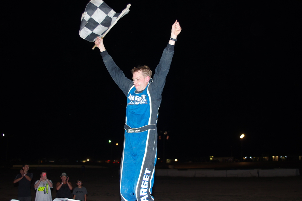Brandon Mowat celebrates his first career Go Nuclear Late Model Series win. (Ken Kelly photo).