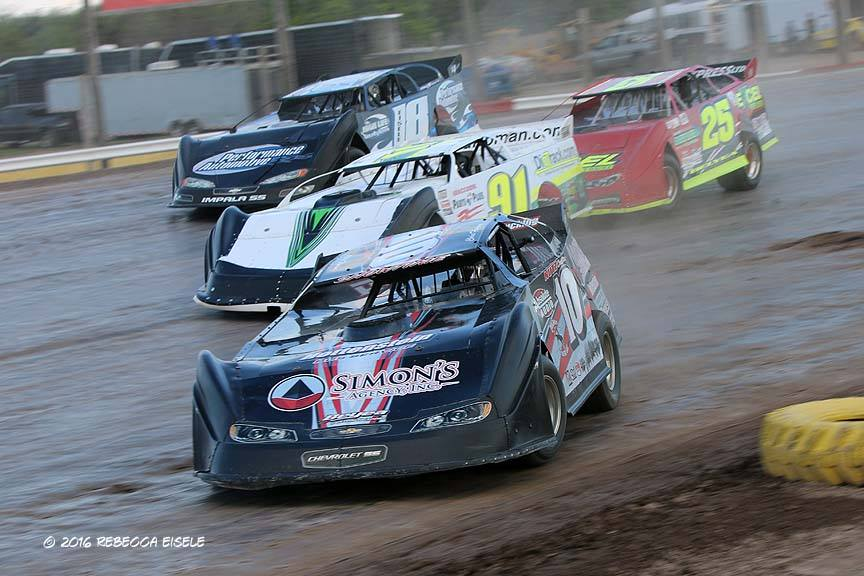 Auburn, NY driver Chris Fleming (No.10) will lead the Go Nuclear Late Model Series back to the green flag for the remaining 27 laps of the third annual Gnome Cup at Utica-Rome Speedway. (Rebecca Eisele photo).