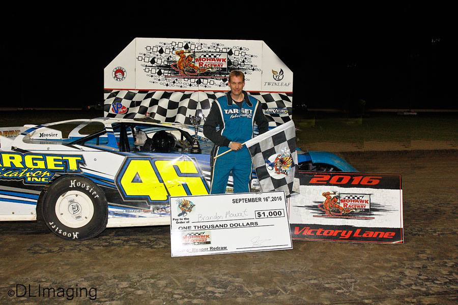 Brandon Mowat in victory lane following his win at Mohawk International Raceway. (Don's Imaging/Don Simpson photo).