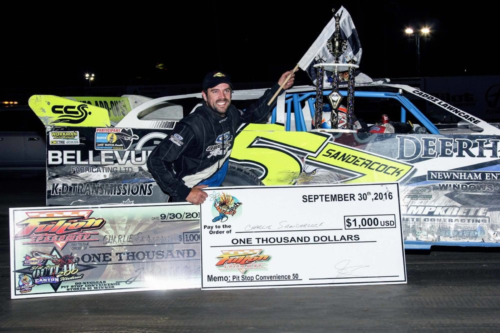 Charlie Sandercock in victory lane following his win in the Pit Stop Convenience Stores 50 presented by Gillee's NAPA Auto Parts at Fulton Speedway on Friday, September 30. (Joe Johnson photo).