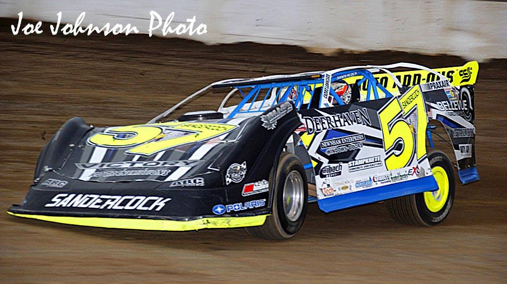 Charlie Sandercock drives his No.57 to victory at Fulton Speedway on Friday, September 30. (Joe Johnson photo).